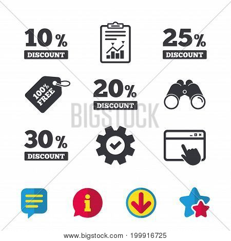 Sale discount icons. Special offer price signs. 10, 20, 25 and 30 percent off reduction symbols. Browser window, Report and Service signs. Binoculars, Information and Download icons. Stars and Chat