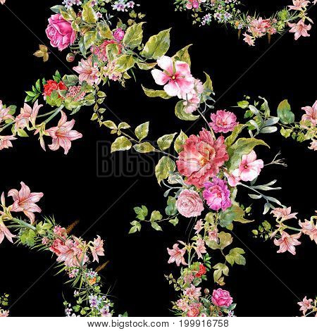 Watercolor painting of leaf and flowers seamless pattern on dark background