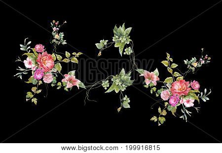 watercolor painting of leaves and flower on dark background