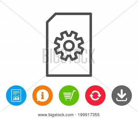 Document Management line icon. Information File with Cogwheel sign. Paper page concept symbol. Report, Information and Refresh line signs. Shopping cart and Download icons. Editable stroke. Vector