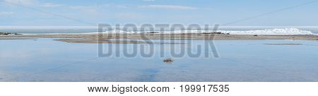 panoramic view of fluffy white clouds reflecting in watery surface of lake
