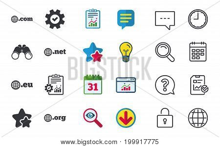 Top-level internet domain icons. Com, Eu, Net and Org symbols with globe. Unique DNS names. Chat, Report and Calendar signs. Stars, Statistics and Download icons. Question, Clock and Globe. Vector