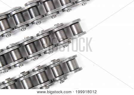 industrial driving roller chain on white background