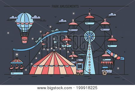Horizontal banner with amusement park. Circus, ferris wheel, attractions, side view with aerostat in air. Colorful line art vector illustration on dark background