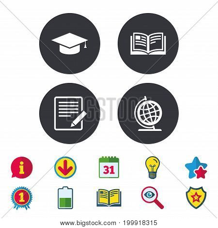 Pencil with document and open book icons. Graduation cap and geography globe symbols. Learn signs. Calendar, Information and Download signs. Stars, Award and Book icons. Light bulb, Shield and Search