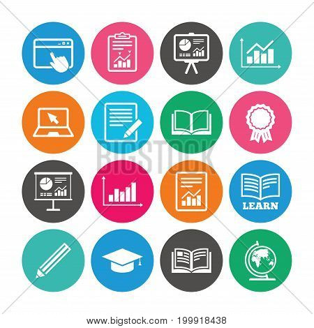 Set of Statistics, Education and Study icons. Presentation, Report and Book signs. Analytics, Pencil and Award medal symbols. Colored circle buttons with flat signs. Vector