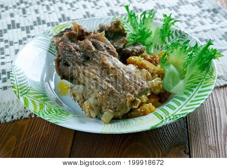 Boiled Gigot of Lamb. studio close up meal