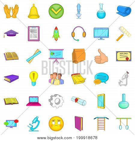 Elearning icons set. Cartoon style of 36 elearning vector icons for web isolated on white background