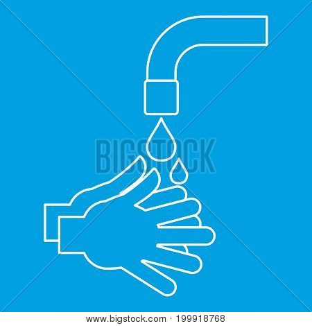 Washing hands icon blue outline style isolated vector illustration. Thin line sign