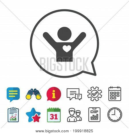Fans love icon. Man raised hands up sign. Information, Report and Calendar signs. Group, Service and Chat line icons. Vector