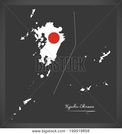 Kyushu-okinawa Map Of Japan With Japanese National Flag Illustration