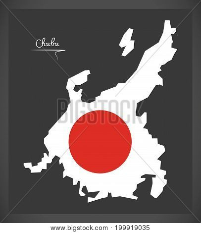 Chubu Map Of Japan With Japanese National Flag Illustration
