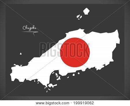 Chugoku Map Of Japan With Japanese National Flag Illustration