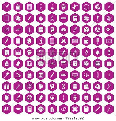 100 learning icons set in violet hexagon isolated vector illustration