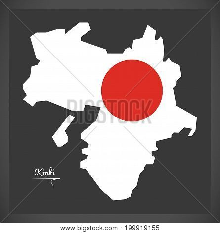 Kinki Map Of Japan With Japanese National Flag Illustration