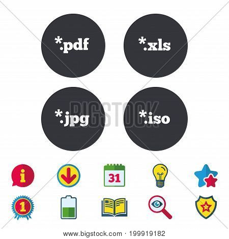 Document icons. File extensions symbols. PDF, XLS, JPG and ISO virtual drive signs. Calendar, Information and Download signs. Stars, Award and Book icons. Light bulb, Shield and Search. Vector