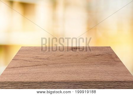 wood desk table top view use for pace product background.