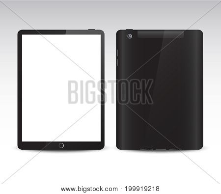Black realistic tablet with white screen on white background vector. Realistic tablet from different sides