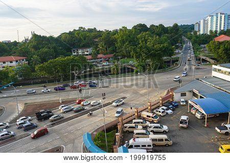 Kota Kinabalu,Sabah,Malaysia-July 21,2017:Aerial view of street & cars in during sunny in Kota Kinabalu,Sabah,Borneo,Malaysia.The increase in car ownership has created lack of parking space at the present scenario.