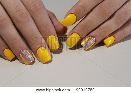 Youth Manicure Design With Rhinestones And Black