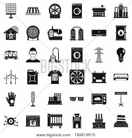 Electrical engineering icons set. Simple style of 36 electrical engineering vector icons for web isolated on white background