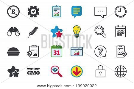 Food additive icon. Hamburger fast food sign. Gluten free and No GMO symbols. Without E acid stabilizers. Chat, Report and Calendar signs. Stars, Statistics and Download icons. Vector