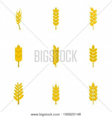 Wheat ears icon set. Flat style set of 9 wheat ears vector icons for web isolated on white background