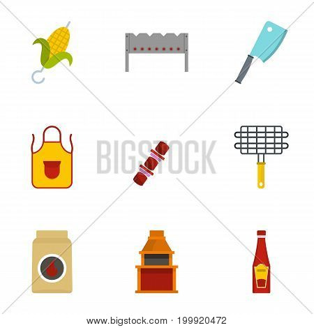 Frying meat icons set. Flat set of 9 frying meat vector icons for web isolated on white background