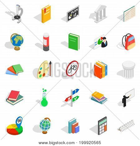Information icons set. Isometric set of 25 information vector icons for web isolated on white background