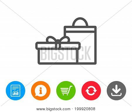 Gift box with bag line icon. Present or Sale sign. Birthday Shopping symbol. Package in Gift Wrap. Report, Information and Refresh line signs. Shopping cart and Download icons. Editable stroke. Vector