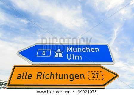 Traffic sign - Freeway sign Munich (Munchen) / Ulm A8 - all directions (alle Richtungen B27)