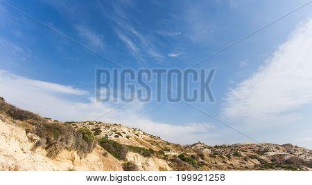 Mediterranean seacoast, Cyprus. Hills along the road