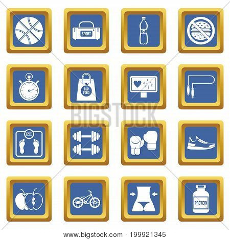 Healthy life icons set in blue color isolated vector illustration for web and any design