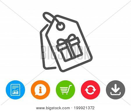 Coupons with Gifts line icon. Present box or Sale sign. Birthday Shopping symbol. Package in Gift Wrap. Report, Information and Refresh line signs. Shopping cart and Download icons. Editable stroke
