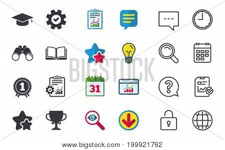 Graduation icons. Graduation student cap sign. Education book symbol. First place award. Winners cup. Chat, Report and Calendar signs. Stars, Statistics and Download icons. Question, Clock and Globe