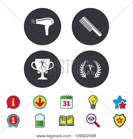 Hairdresser icons. Scissors cut hair symbol. Comb hair with hairdryer symbol. Barbershop laurel wreath winner award. Calendar, Information and Download signs. Stars, Award and Book icons. Vector