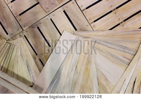 Top view of wooden planks and crates on pile. Recycling concept