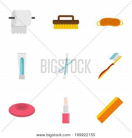 Bathroom things icons set. Flat set of 9 bathroom things vector icons for web isolated on white background