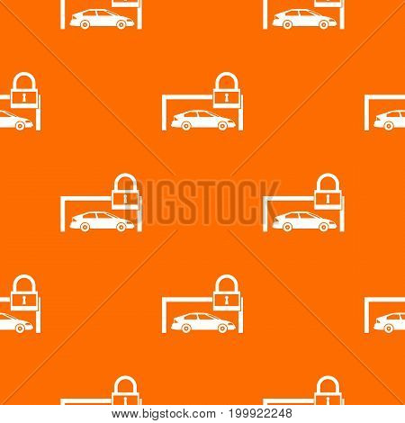 Car and padlock pattern repeat seamless in orange color for any design. Vector geometric illustration