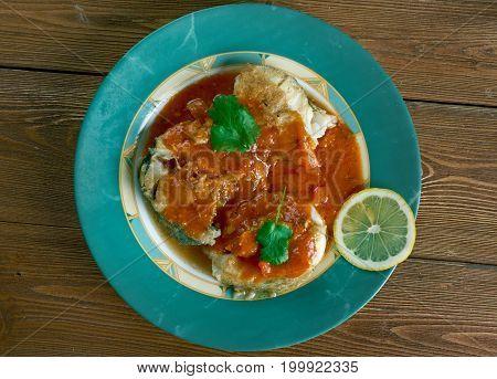 cazuela de pescado colombiana Seafood Stew studio close up meal