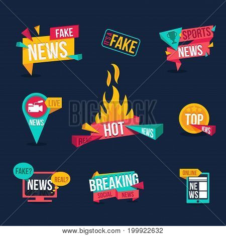 Set of news banners. Fake news, sports news, live news, hot news, top news, breaking news, real or fake news, online news, it's a fake news stamp. News digital web ad in flat design.