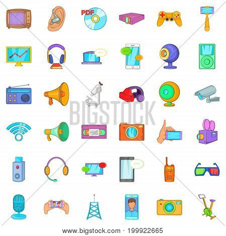 Electronic gadget icons set. Cartoon style of 36 electronic gadget vector icons for web isolated on white background