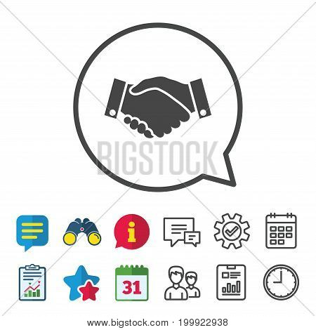 Handshake sign icon. Successful business symbol. Information, Report and Calendar signs. Group, Service and Chat line icons. Vector