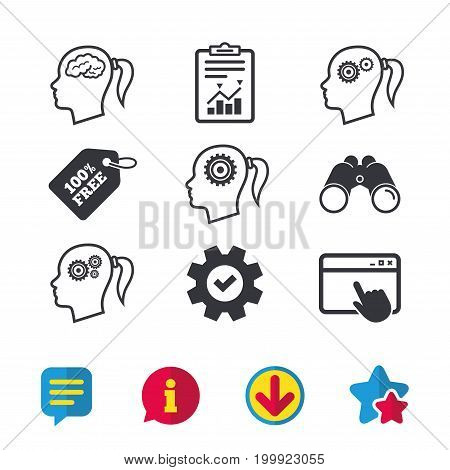 Head with brain icon. Female woman think symbols. Cogwheel gears signs. Browser window, Report and Service signs. Binoculars, Information and Download icons. Stars and Chat. Vector