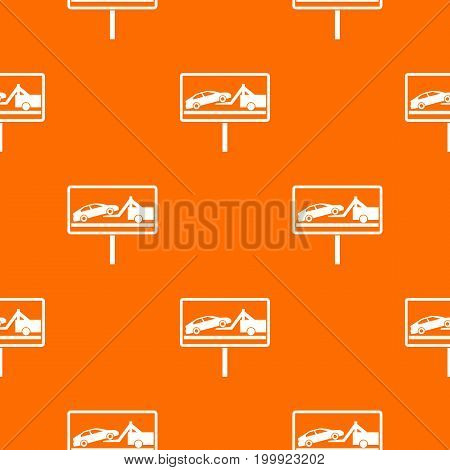 No parking sign pattern repeat seamless in orange color for any design. Vector geometric illustration