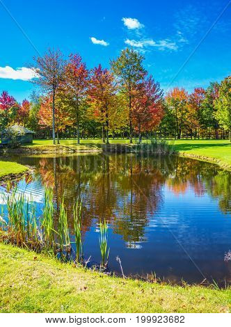 Concept of recreational tourism. Phenomenally beautiful park with red, orange and green autumn foliage.  The way to Bromont, the French Canada