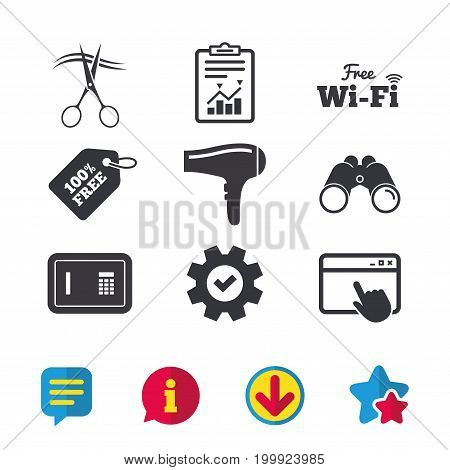 Hotel services icons. Wi-fi, Hairdryer and deposit lock in room signs. Wireless Network. Hairdresser or barbershop symbol. Browser window, Report and Service signs. Vector