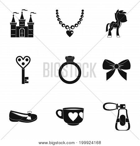 Little princess icon set. Simple style set of 9 little princess vector icons for web isolated on white background