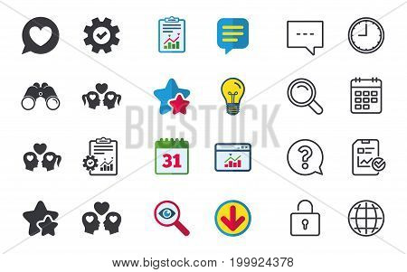 Couple love icon. Lesbian and Gay lovers signs. Romantic homosexual relationships. Speech bubble with heart symbol. Chat, Report and Calendar signs. Stars, Statistics and Download icons. Vector