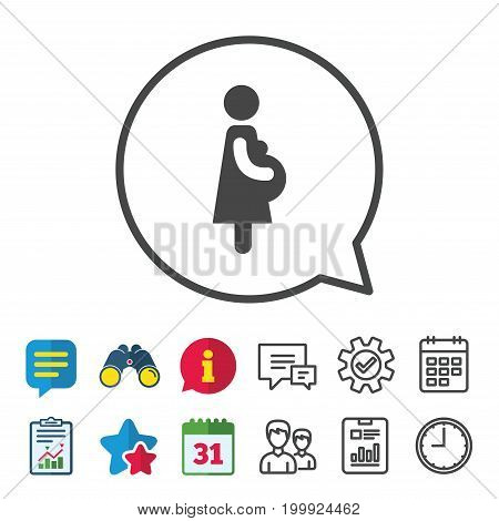 Pregnant sign icon. Women Pregnancy symbol. Information, Report and Calendar signs. Group, Service and Chat line icons. Vector